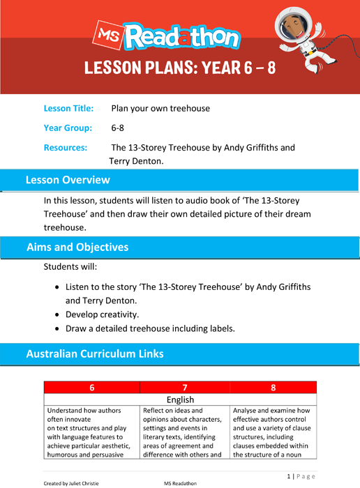 Lesson plans: Year 6 - 8