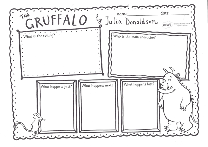 Resource: 'The Gruffalo setting' worksheet (year K - 2)
