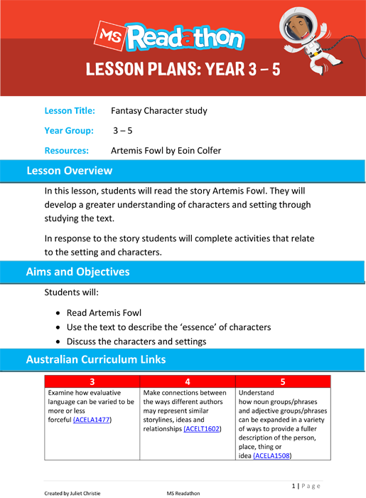 Lesson plans: Year 3 - 5