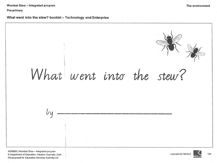 Resource: 'What went into the stew' booklet (year K - 2)