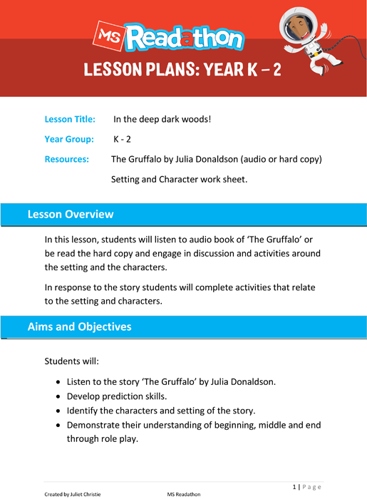 Lesson plans: Year K - 2